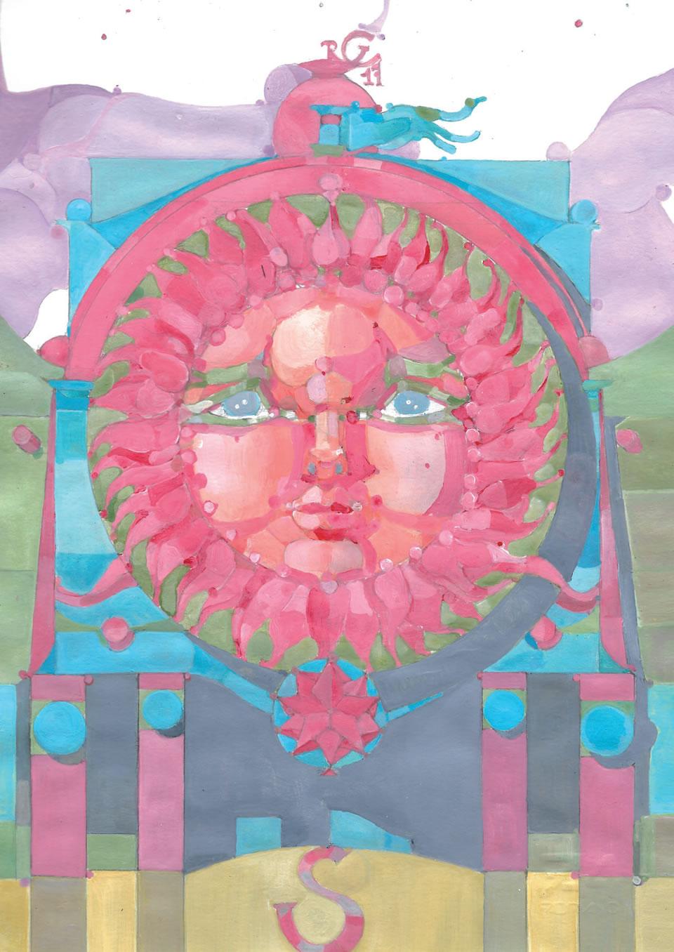 Sole di Atlantide | acrilico su carta CM 21 x 29,5 | RICCARDO CECCHINI 2017