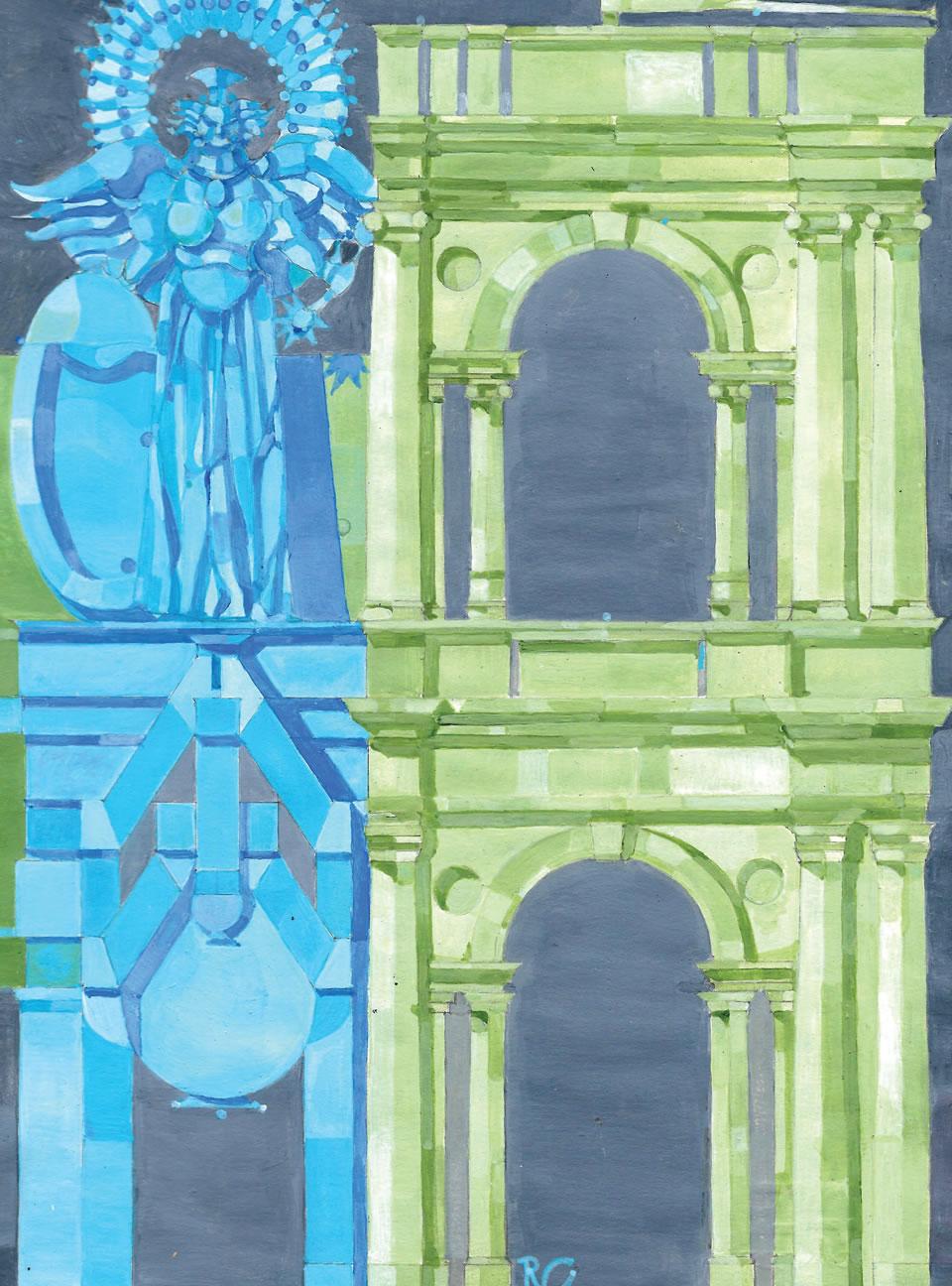 Basilica | acrilico su carta CM 21 x 29,5 | RICCARDO CECCHINI 2017
