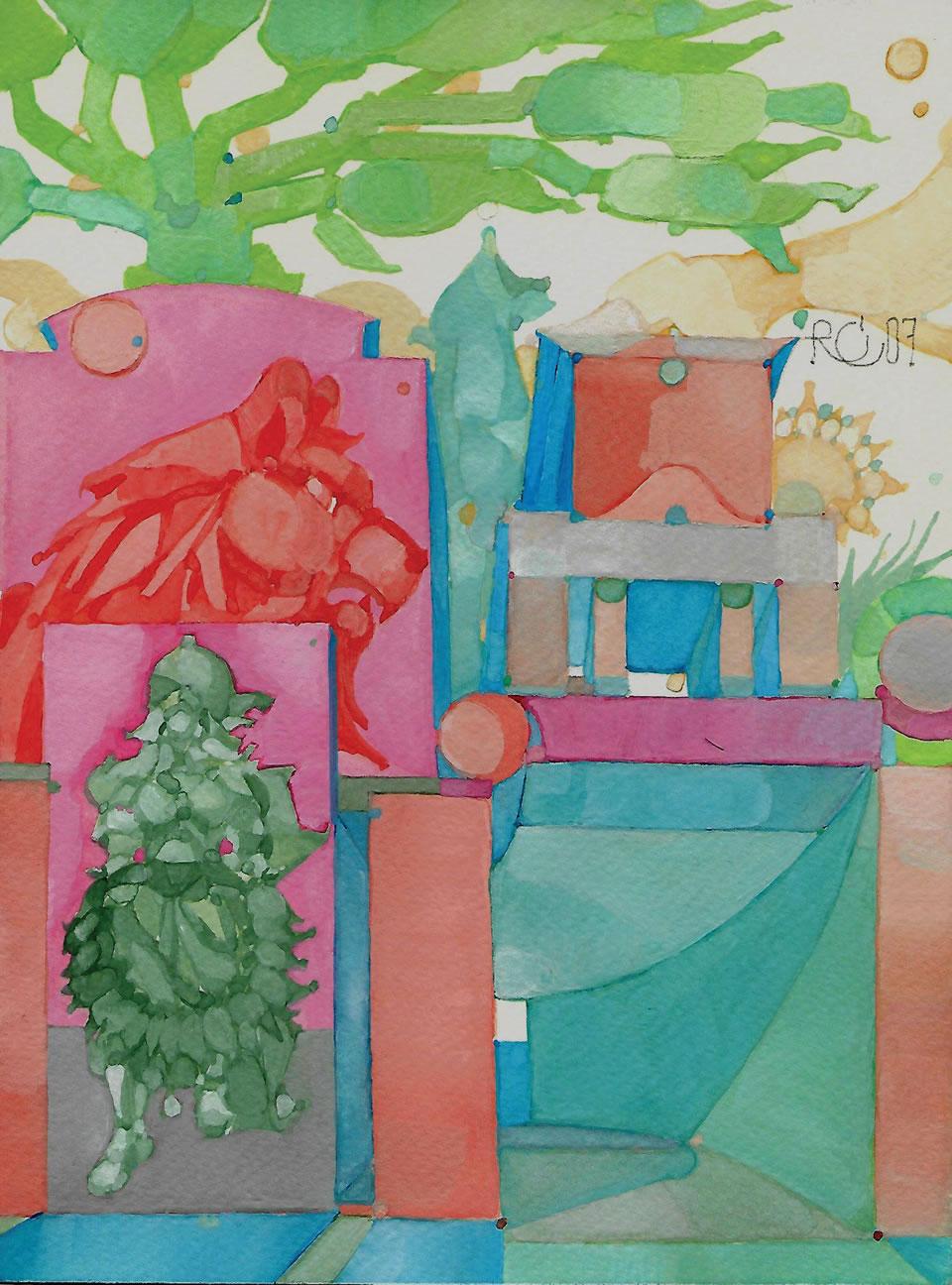 La Cripta | acrilico su carta CM 18 x 24 | RICCARDO CECCHINI 2007