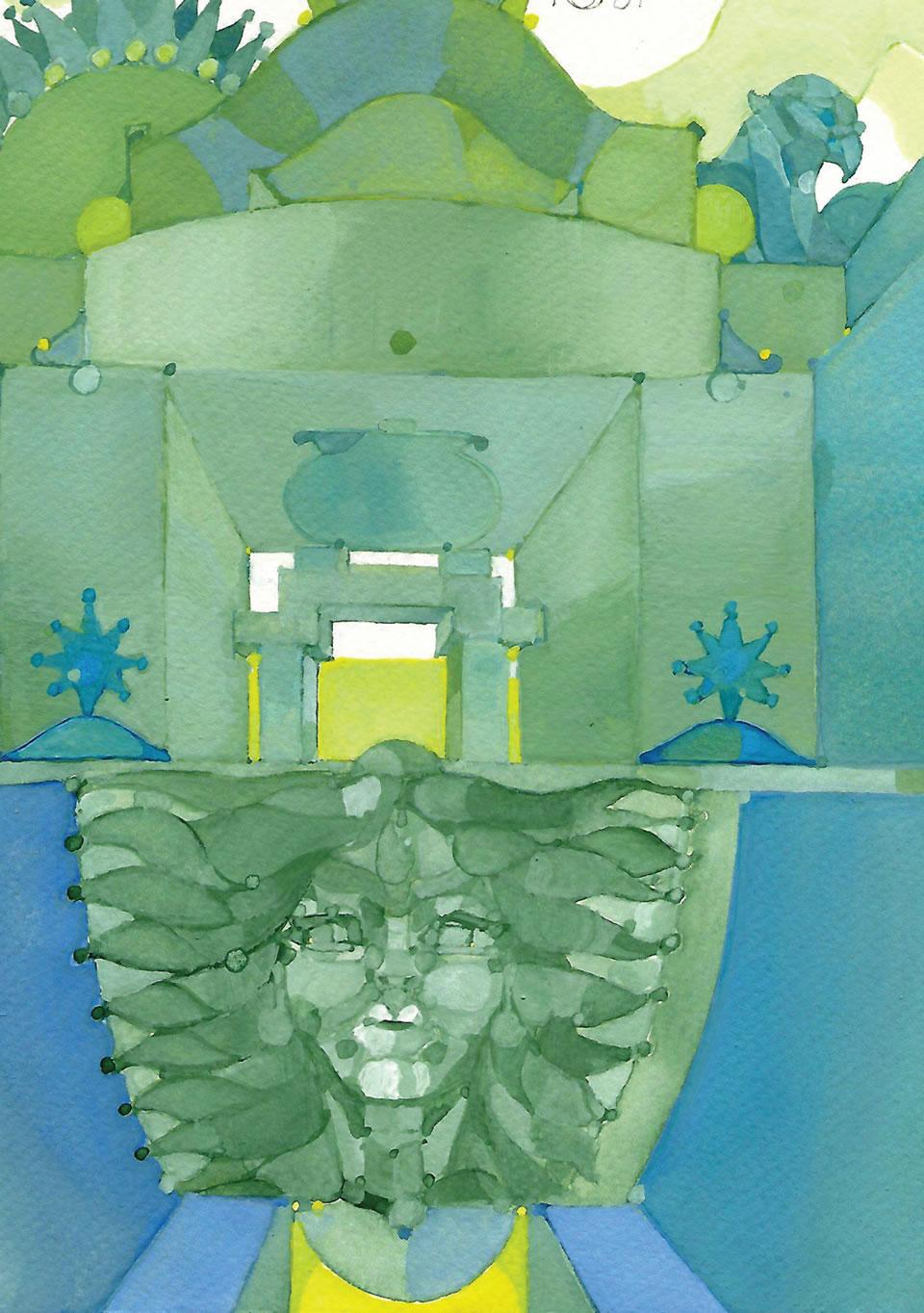 La Porta Oscura | tempera su carta CM 18 x 24 | RICCARDO CECCHINI 2007