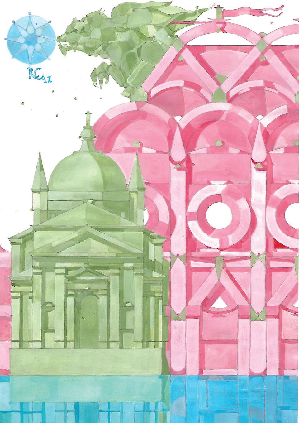 Tempio del redentore | acrilico su carta CM 21 x 29,5 | RICCARDO CECCHINI 2017
